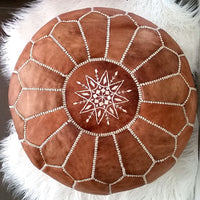 Moroccan Leather Ottoman - Tan Cigar - Simply Hygge Homewares