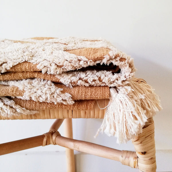 Boho Cotton Throw - Butterscotch