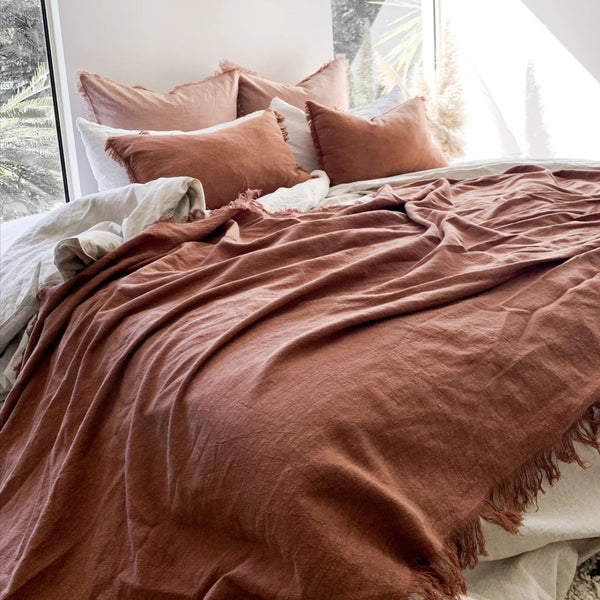 Pippa Fringed Throw - Rust - Simply Hygge Homewares