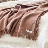 Lyla Fringed Throw - Blush - Simply Hygge Homewares