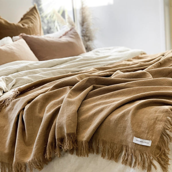 Ena Fringed Throw - Cinnamon - Simply Hygge Homewares