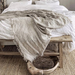 Felix Linen Throw - Flax - Simply Hygge Homewares