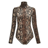 Leopard Bodycon Long Sleeve Bodysuit - Fashionz Shop