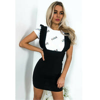 Check Dog Tooth Frill Ruffle Pinafore High Waist Bodycon Dress - Fashionz Shop