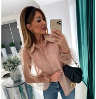 Mesh Sheer Blouse See-through Long Sleeve Top - Fashionz Shop