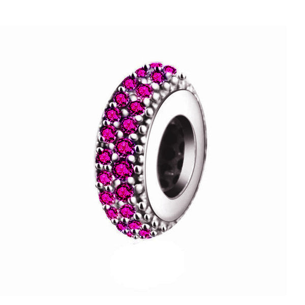 925 Silver Plated Bead Abstract Zircon Charm - Fashionz Shop