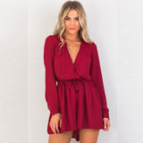 Long-Sleeve V-Neck Playsuit