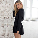 Long-Sleeve V-Neck Playsuit - Fashionz Shop