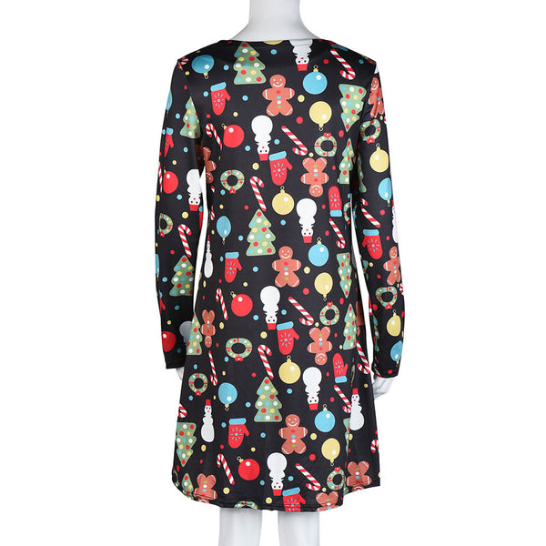 Women Xmas Print Swing Dress - Fashionz Shop
