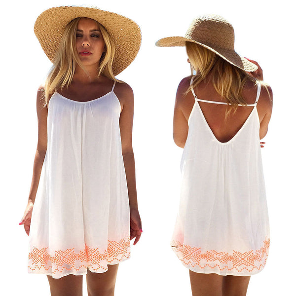 White Harness Dress Backless Short Summer - Fashionz Shop