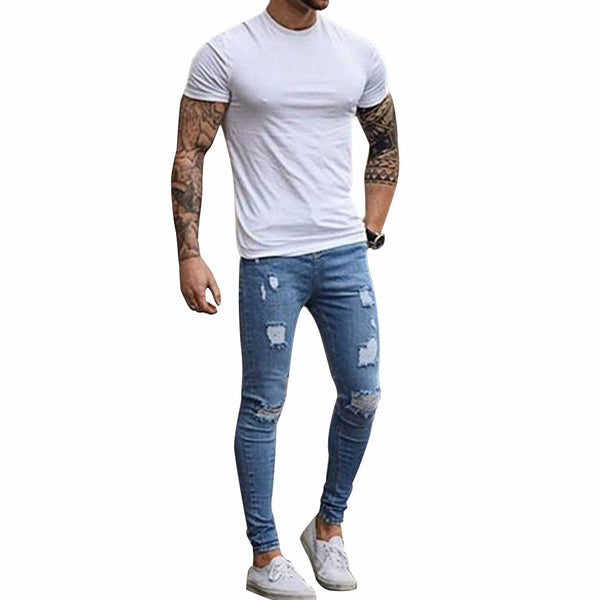 Fashion Destroyed Torn Pants Men's Pant Zipper Skinny Jeans (Blue),,Fashionz Shop,Fashionz Shop