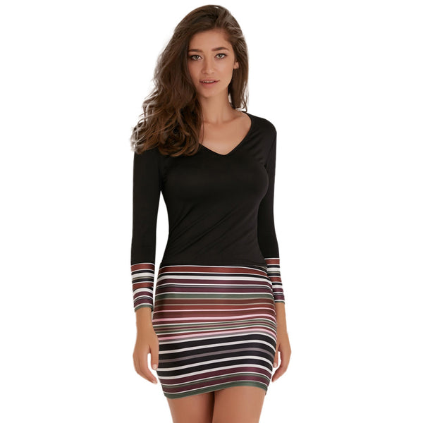 Striped Long Sleeve  Party Dress,,Fashionz Smarts,Fashionz Shop