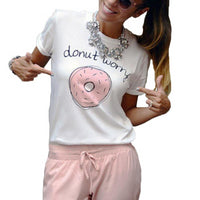 Leisure T Shirt Tops Cute Donuts Print - Fashionz Shop