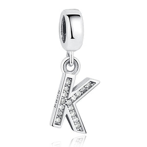 2018 Authentic 925 Sterling Silver A to Z Clear CZ Alphabet Letter Charms Pendent Fit Original pandora Bracelets for Women