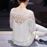 Floral Lace Half-Sleeve Blouse