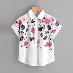 Sheinside White Floral Embroidery Shirt Women Roll Up Sleeve