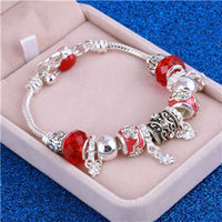 ZOSHI Pink Crystal Charm Silver Bracelets & Bangles for Women With Aliexpress Murano Beads Silver Bracelet Femme Love  Jewelry - Fashionz Shop