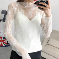 Lace-Mesh Long-Sleeve Blouse - Fashionz Shop