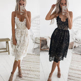 Sexy Party Dress Women Summer Deep V Neck Backless Lace Dresses Fashion Sleeveless Halter Bandage Midi Dress #BF,,Fashionz Shop,Fashionz Shop
