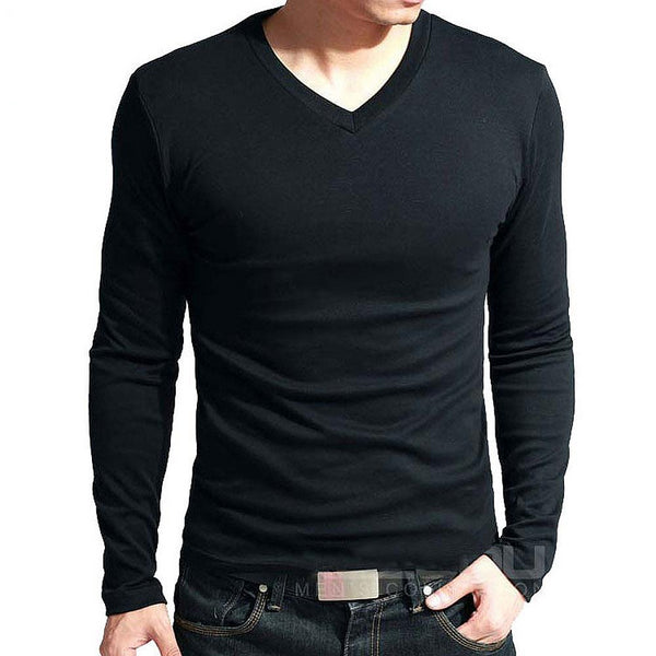 Men's long sleeve v neck tight t-shirt