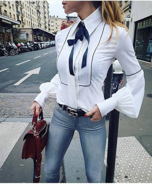 Office Bow Tie Blouse Women Lantern Sleeve White Button Necktie Shirts Female Elegant Work Shirt Casual Tops New 2018 Spring