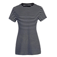 Summer Round Neck Short-sleeved Dress Black And White Striped,,Fashionz Shop,Fashionz Shop