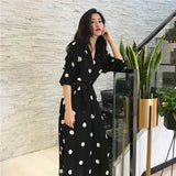 Korean Style Fashion V-neck Long Dress - Fashionz Shop