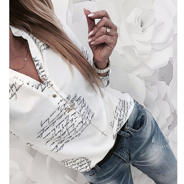 Printed Long-Sleeve Blouse - Fashionz Shop