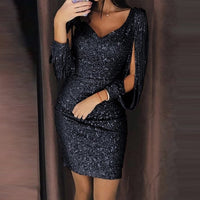 V-Neck Solid Sequined Party Dress - Fashionz Shop