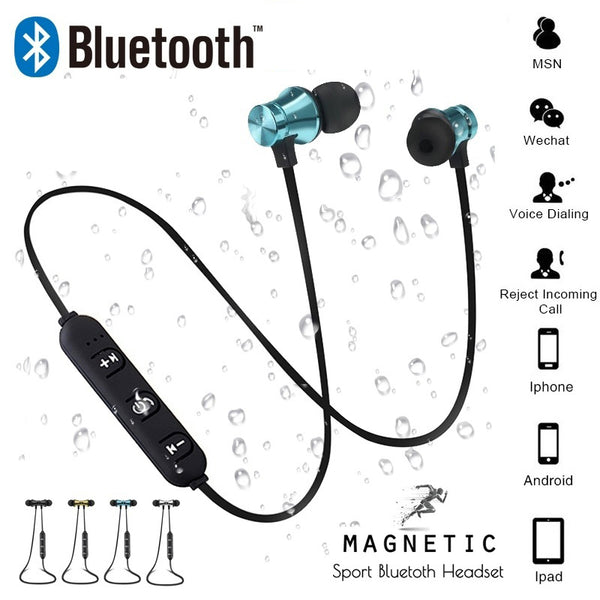 Magnetic attraction Bluetooth Earphone Headset Sweatproof sports 4.2 with Charging Cable Young Earphone Build-in Mic,,Fashionz Shop,Fashionz Shop