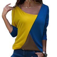 Casual Loose Patchwork V-Neck Top