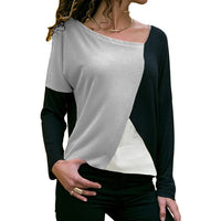 Casual Loose Patchwork V-Neck Top - Fashionz Shop