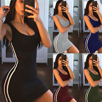 Side-Stripe Sleeveless Bodycon Dress - Fashionz Shop