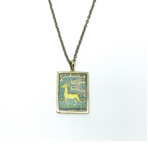 VINTAGE MATCHBOX BLUE 'INDIAN ANTELOPE' PENDANT