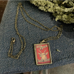 VINTAGE MATCHBOX RED 'INDIAN ANTELOPE' PENDANT
