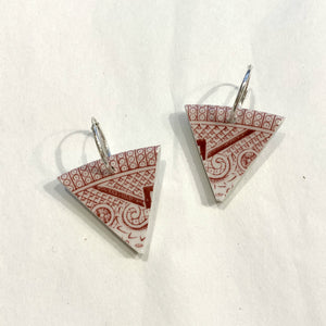 VINTAGE OLD WILLOW CHINA EARRINGS