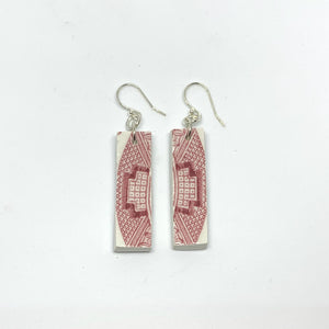 VINTAGE OLD WILLOW CHINA DROP EARRINGS