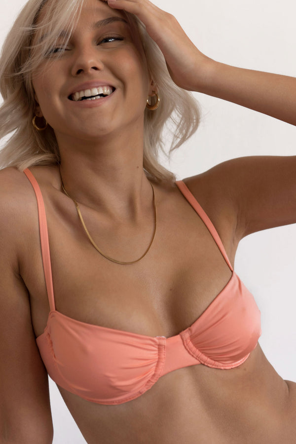 BIKINI DOLLS Bella ruched underwire bikini top in Peach Pink