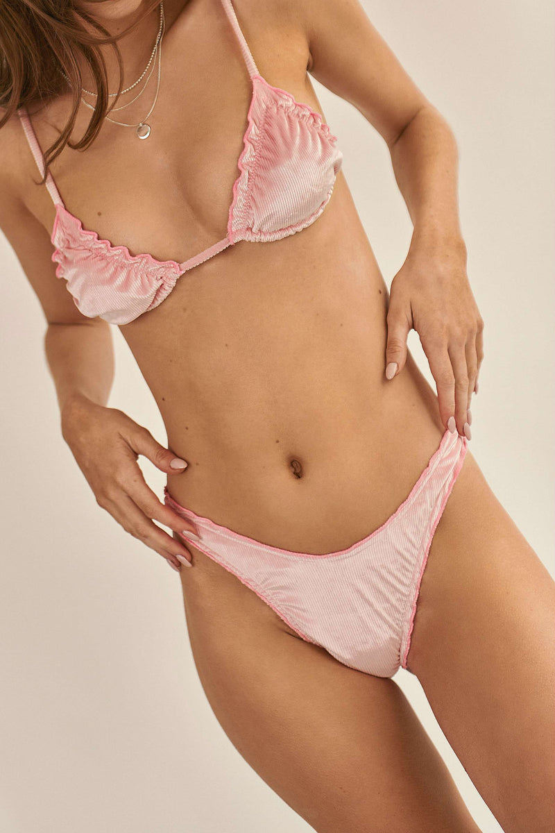 BIKINI DOLLS Candy high cut bikini bottom in velvet pink rib