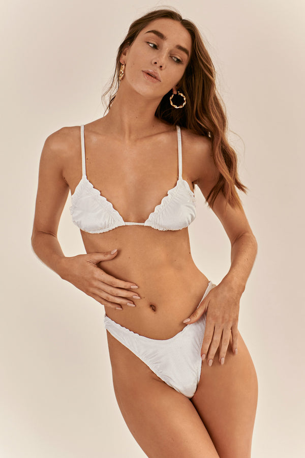 BIKINI DOLLS Candy triangle bikini top in velvet white rib