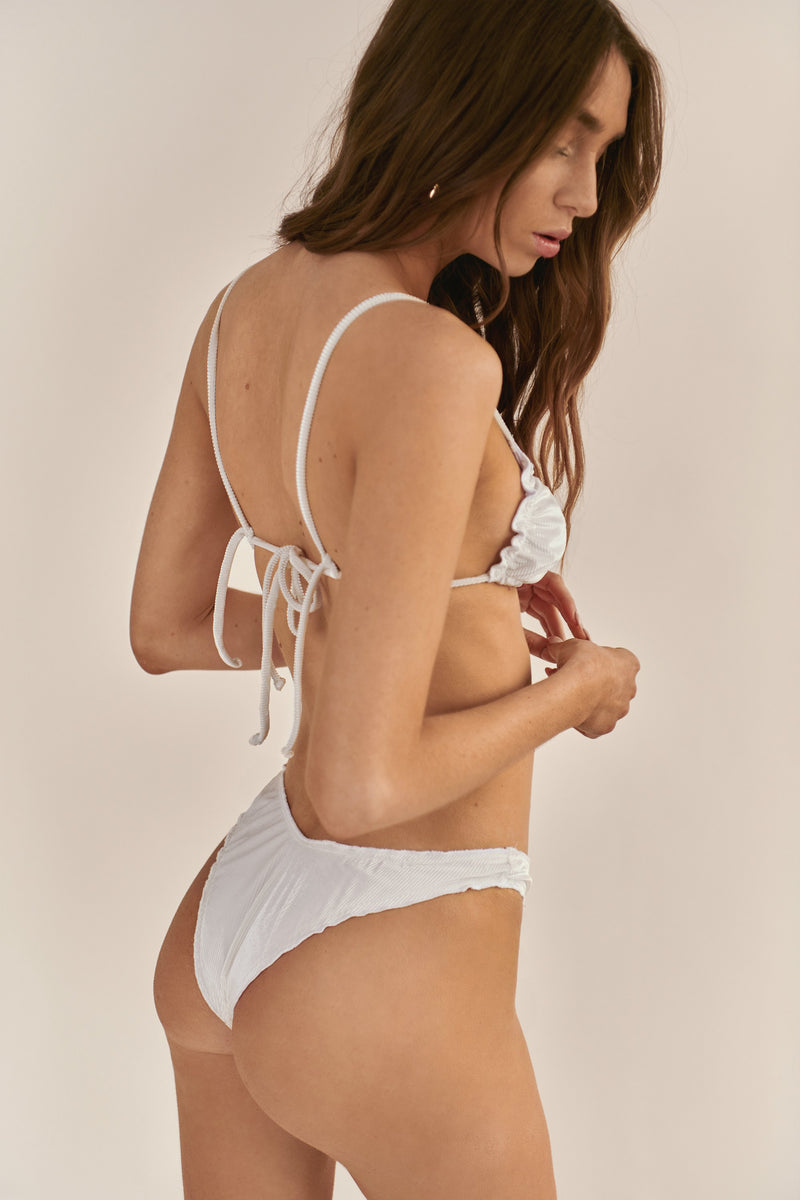 BIKINI DOLLS Candy high cut bikini bottom in velvet white rib