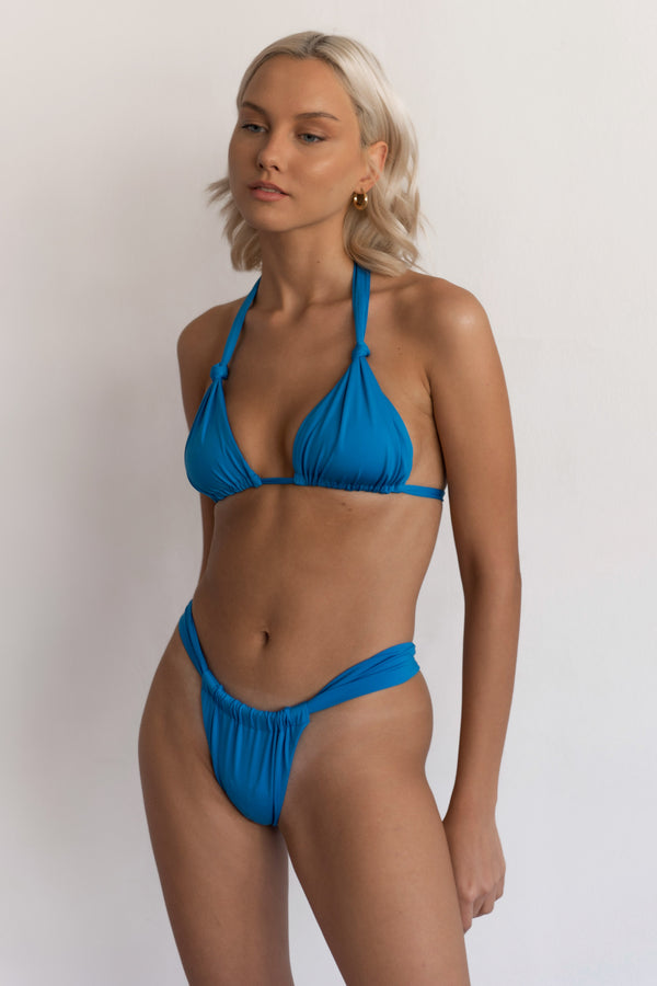 BIKINI DOLLS Cindy ruched triangle bikini top in Azure Blue