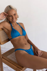 BIKINI DOLLS Cindy ruched high-cut bikini bottom in Azure Blue