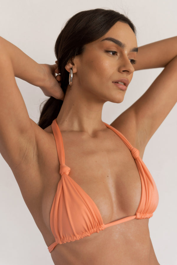 BIKINI DOLLS Cindy ruched triangle bikini top in Peach Pink