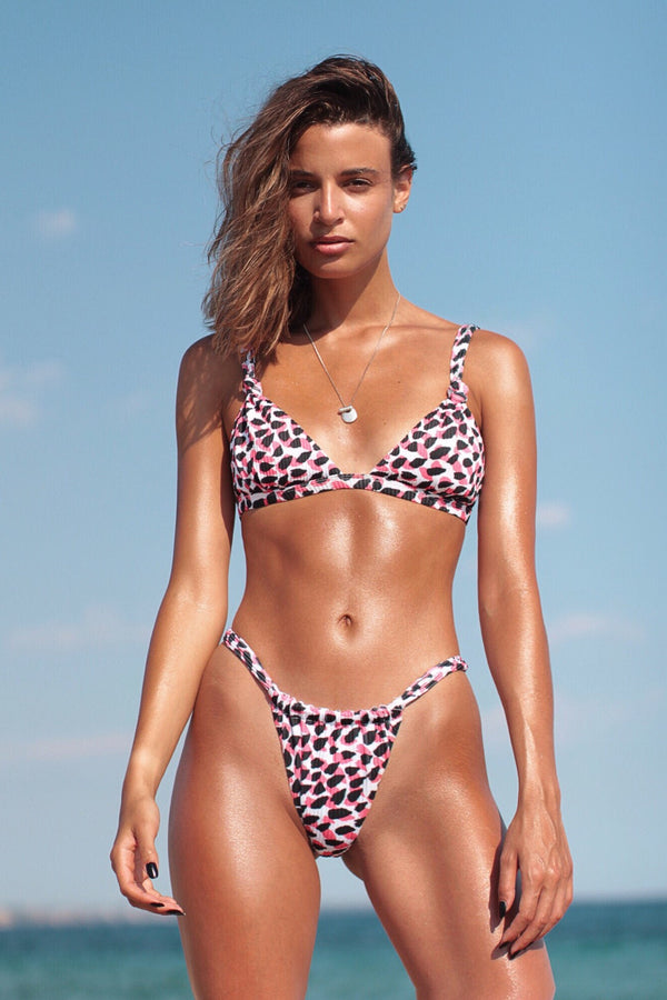 Cindy bikini top in Pop Leopard print
