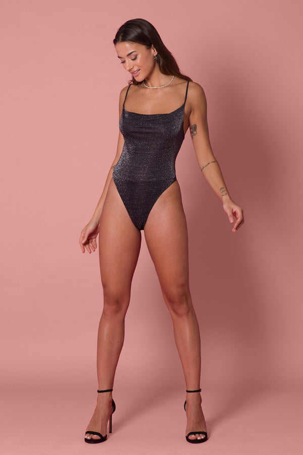 Crystal Bodysuit - Black Lurex