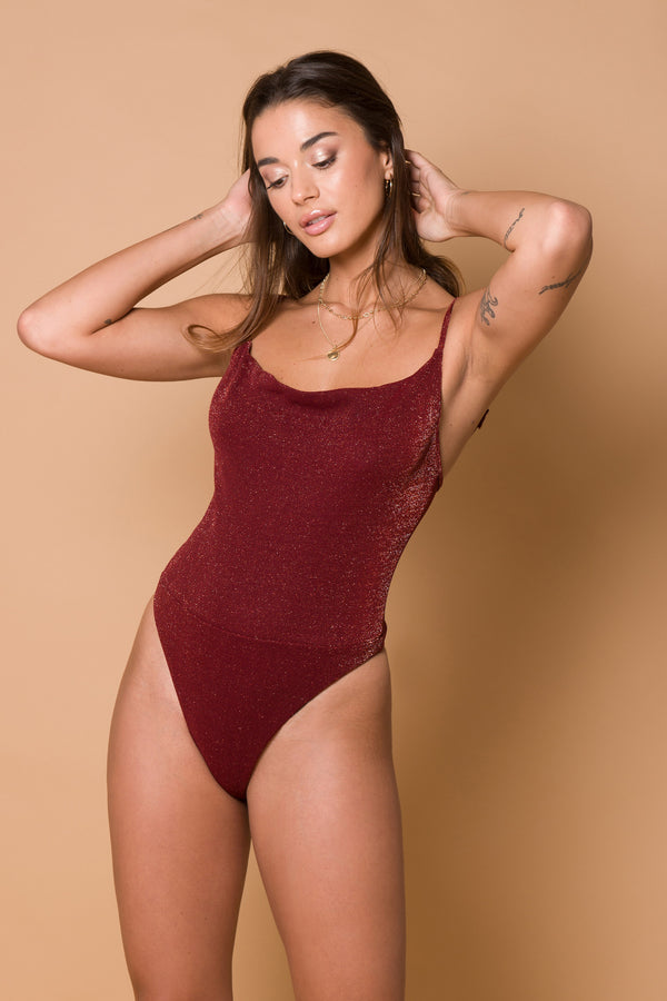 Crystal Bodysuit - Sangria Red Lurex