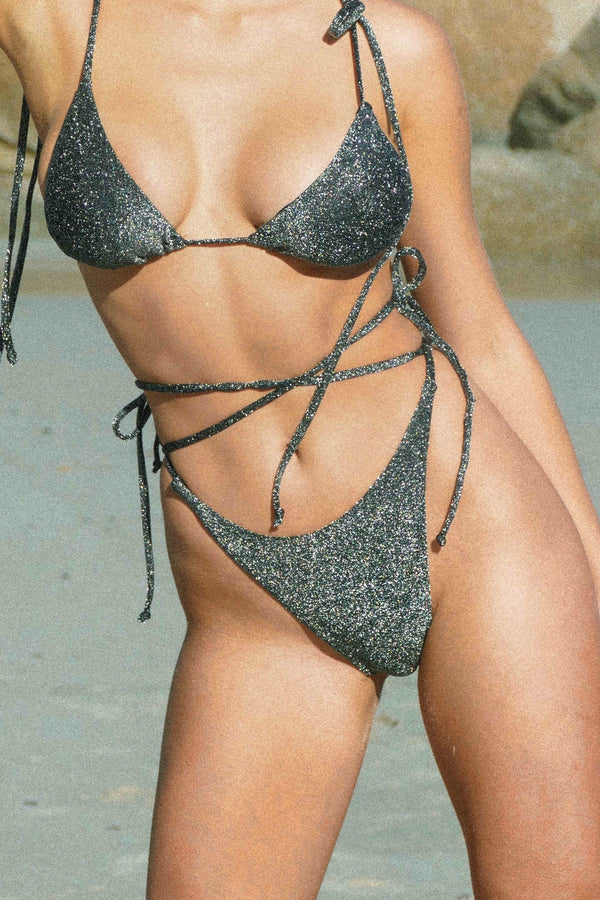BIKINI DOLLS Diana tie side bikini bottom in dark gray, almost black lurex