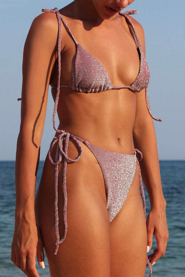 BIKINI DOLLS Diana triangle bikini top in dusty rose, dusky pink lurex