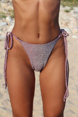 BIKINI DOLLS Diana tie side bikini bottom in dusty rose, dusky pink lurex